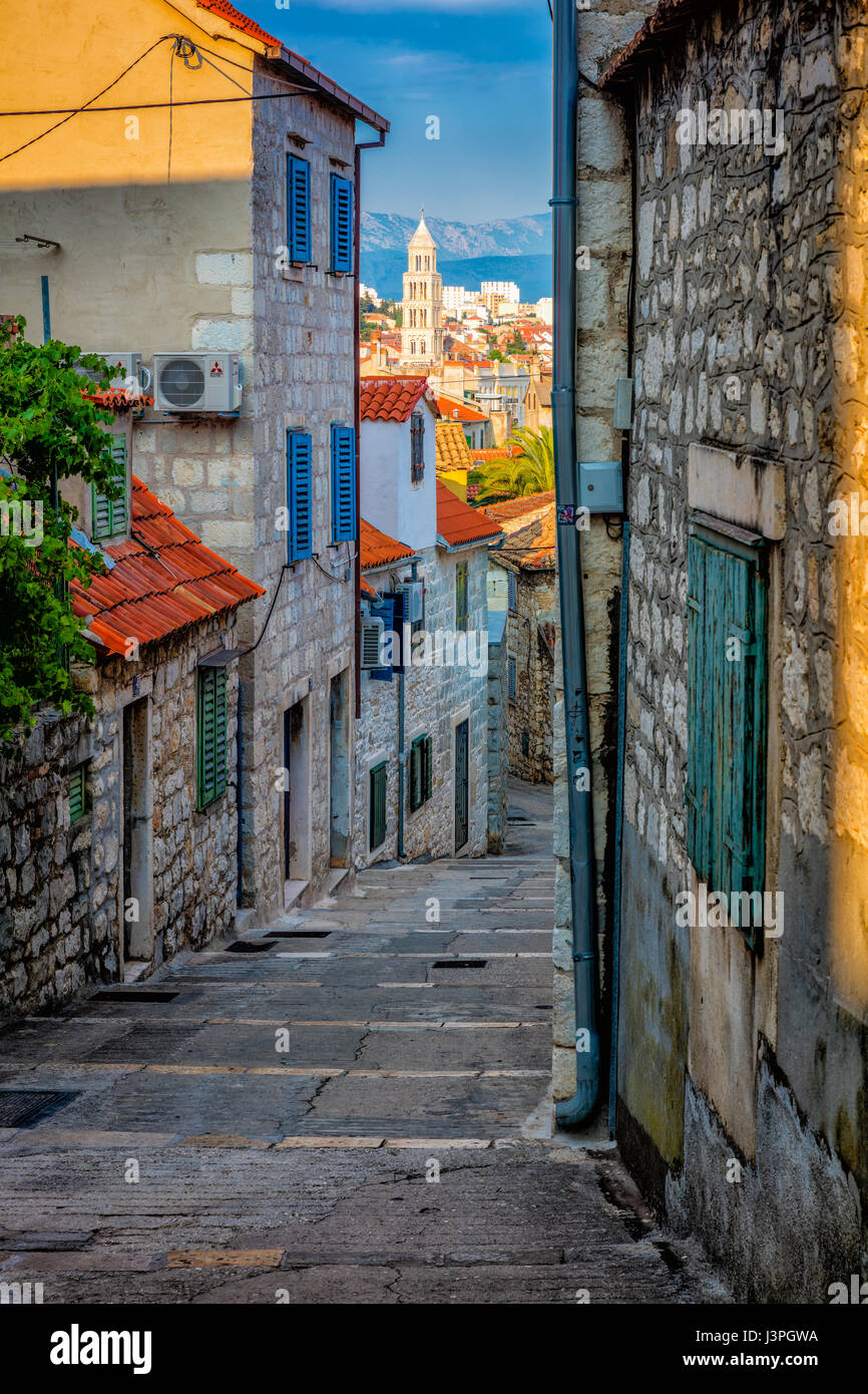 Split ist eine Stadt in Zentral-Dalmatien, Kroatien. Die Stadt wurde ursprünglich gebaut, um den Diokletian Stockbild
