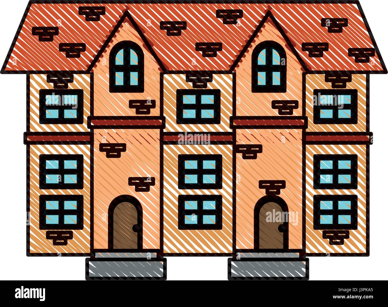 Haus Ziegel Dach Fliese Zeichnungsfenster