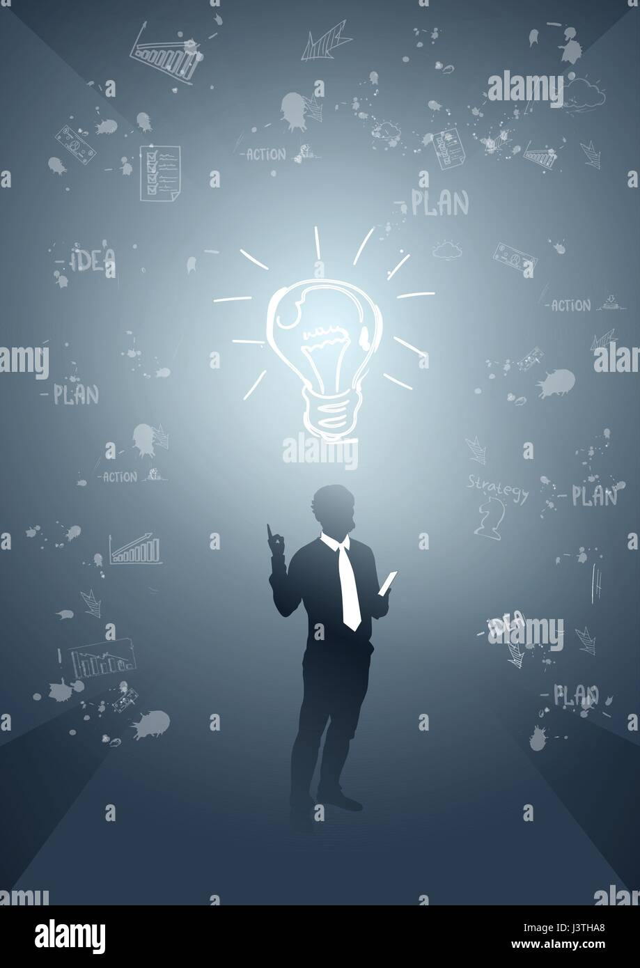 Business Man Silhouette Glühbirne neue Idee Innovation-Konzept ...