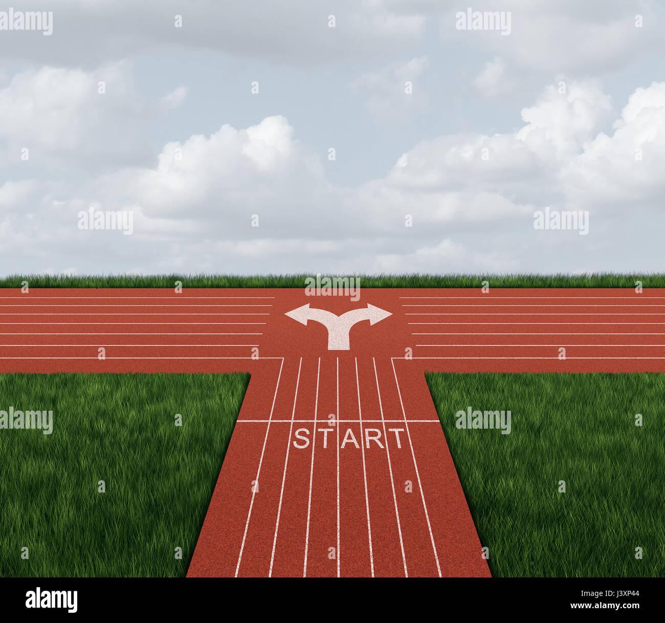 Richtungsentscheidung Rennen als Geschäft Verwirrung Konzept und Karriere Pfad Metapher mit 3D Abbildung Elemente. Stockbild