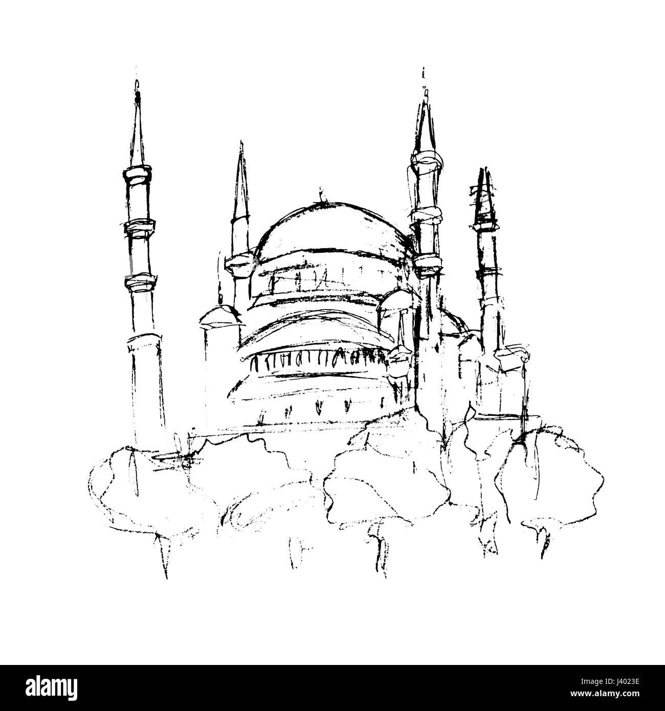Traditionellen Moschee Turm Gebaude Skizze Fur Ramadan Kareem Architektur Und Kultur Objekt Handgezeichneten In Schwarzer Tinte Oder Bleistift Auf Weissem