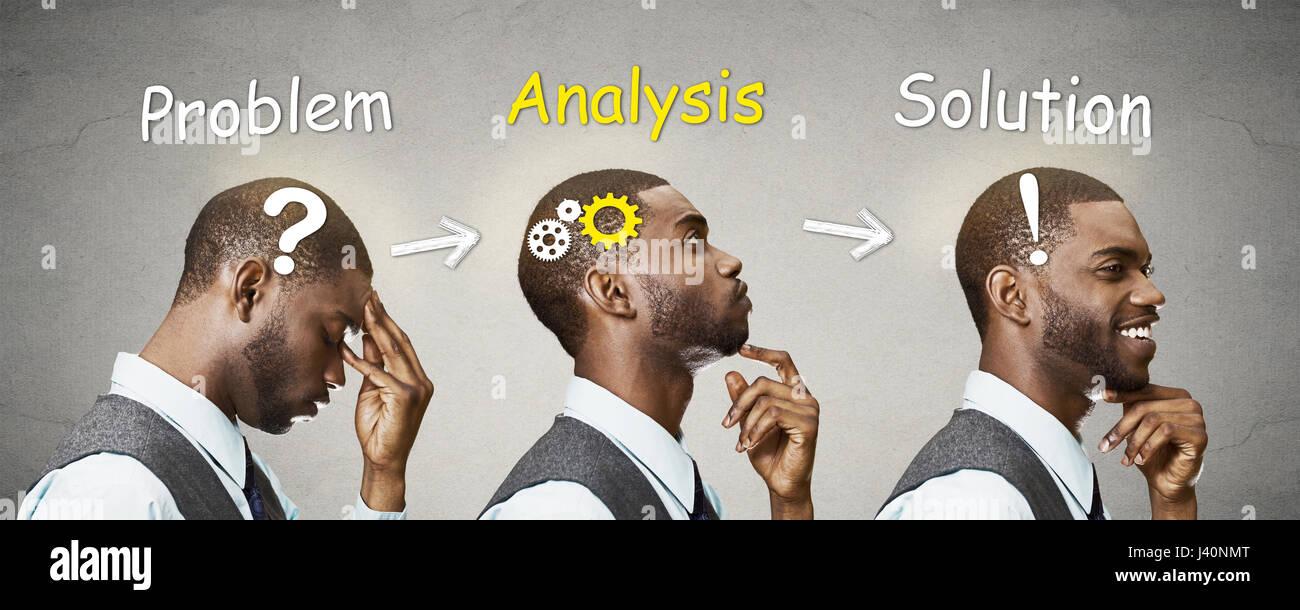 Seite Ansicht Profil Kopf Plansequenzen nachdenklich, ist denken, Suche nach Lösung junger Mann mit Getriebe, Stockbild