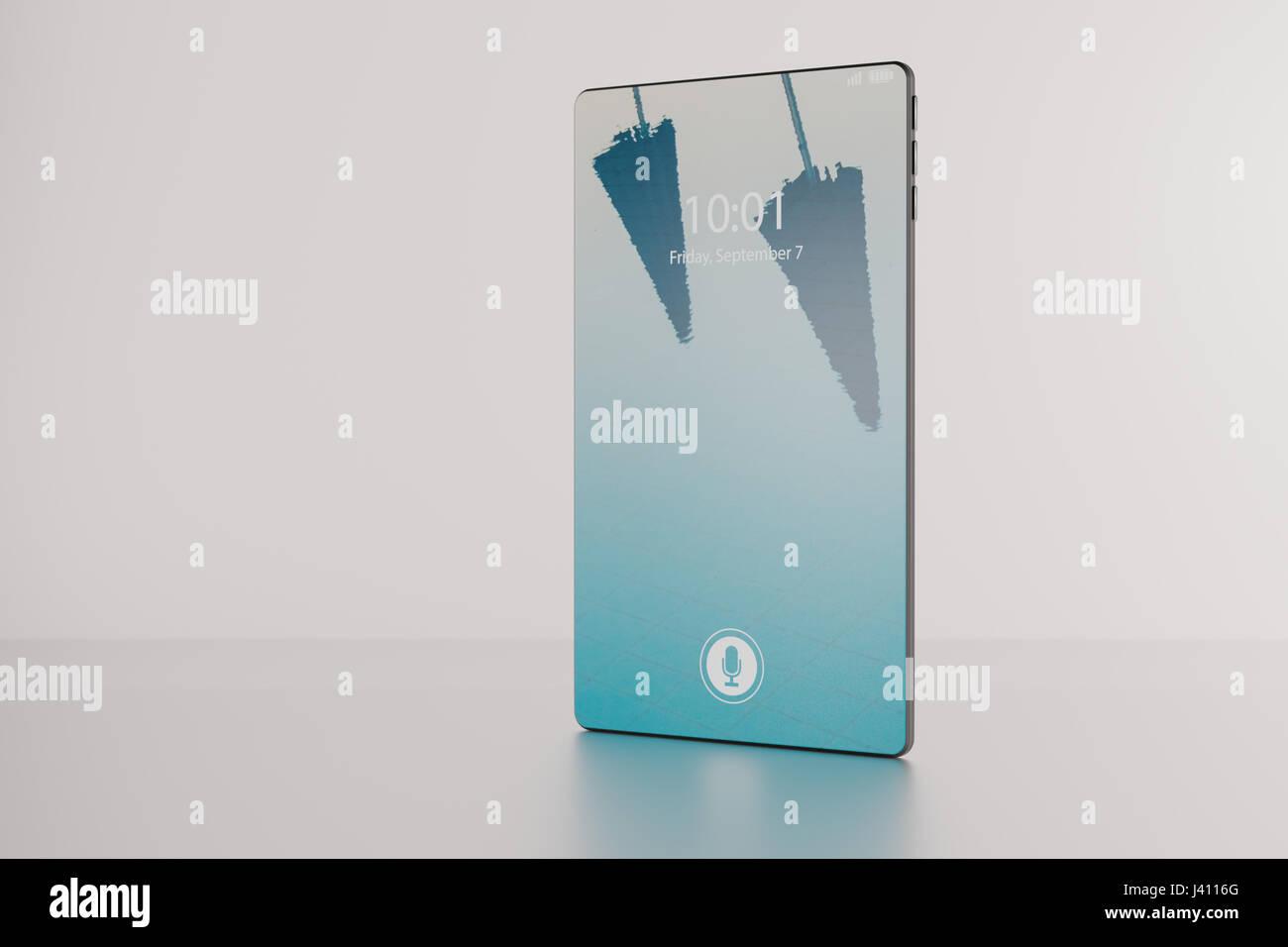 3D Abbildung einer fiktiven Lünette-freie Vollbild Smartphone Produkt Präsentation auf weißem Hintergrund. Stockbild