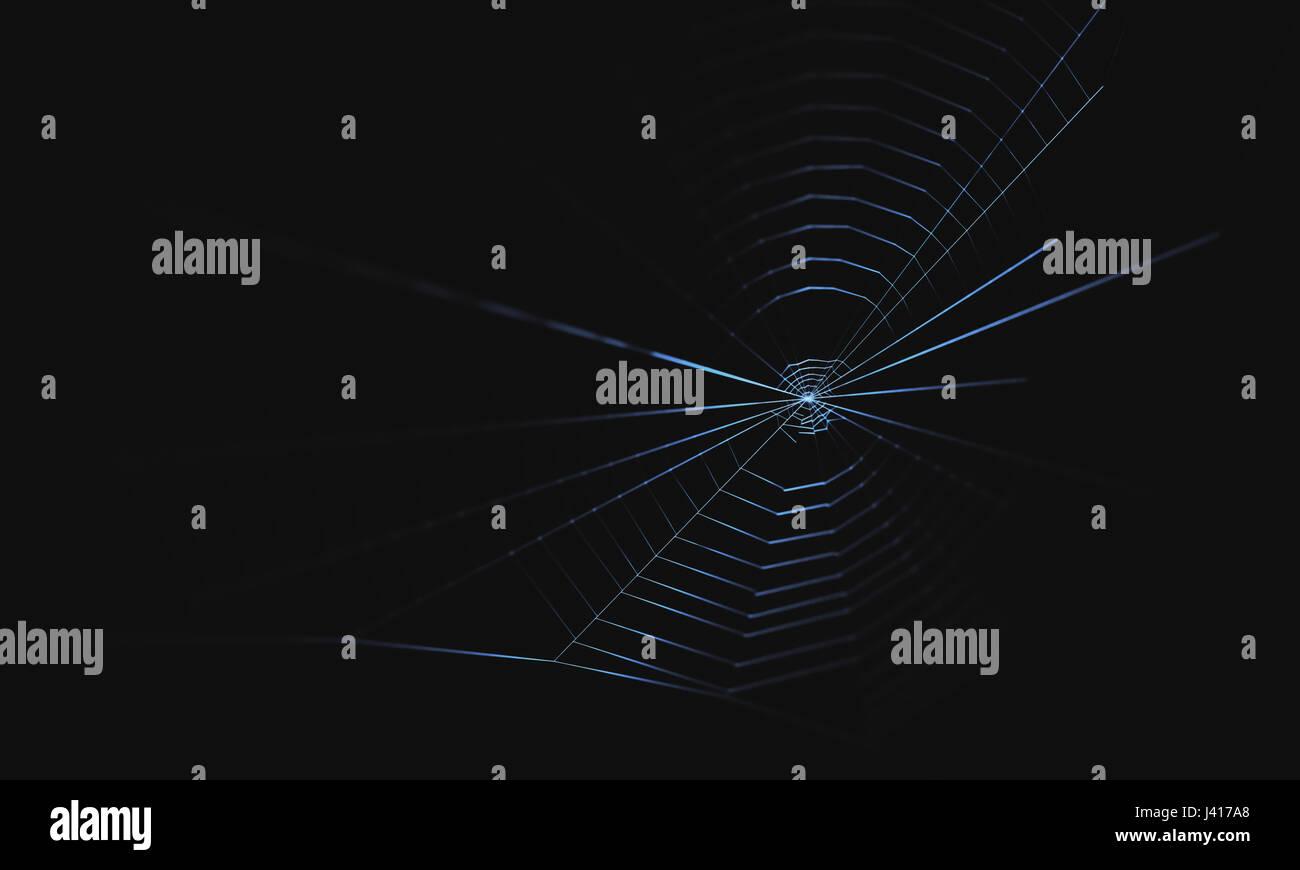 3D Illustration. Spinnennetz auf schwarzem Hintergrund. Stockbild