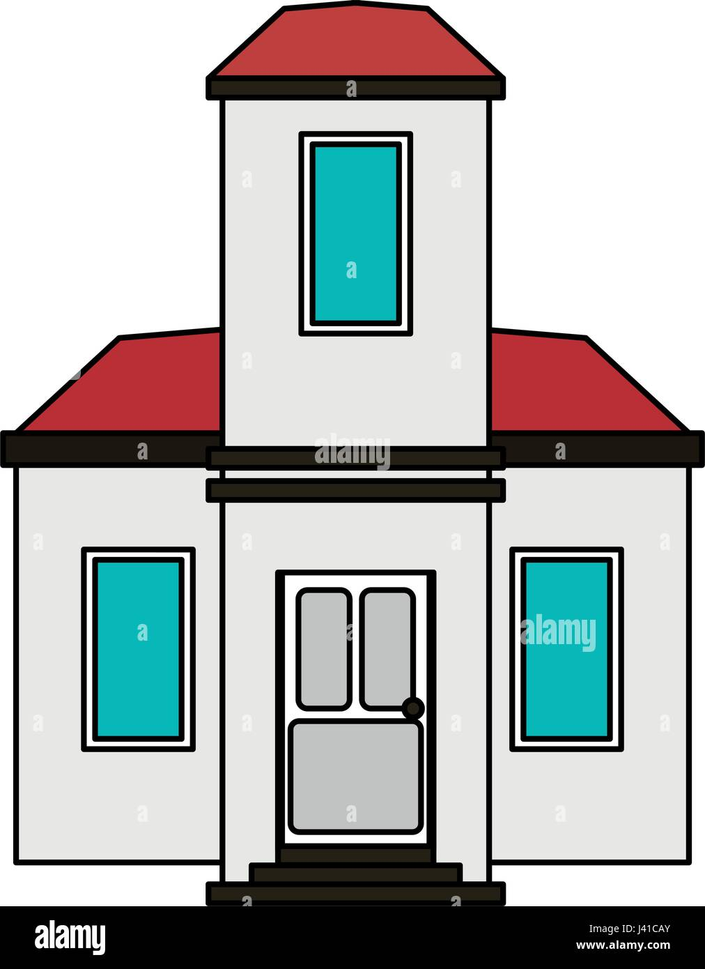 buntes Bild Cartoon-Fassade-modernes Haus-Stil Vektor Abbildung ...