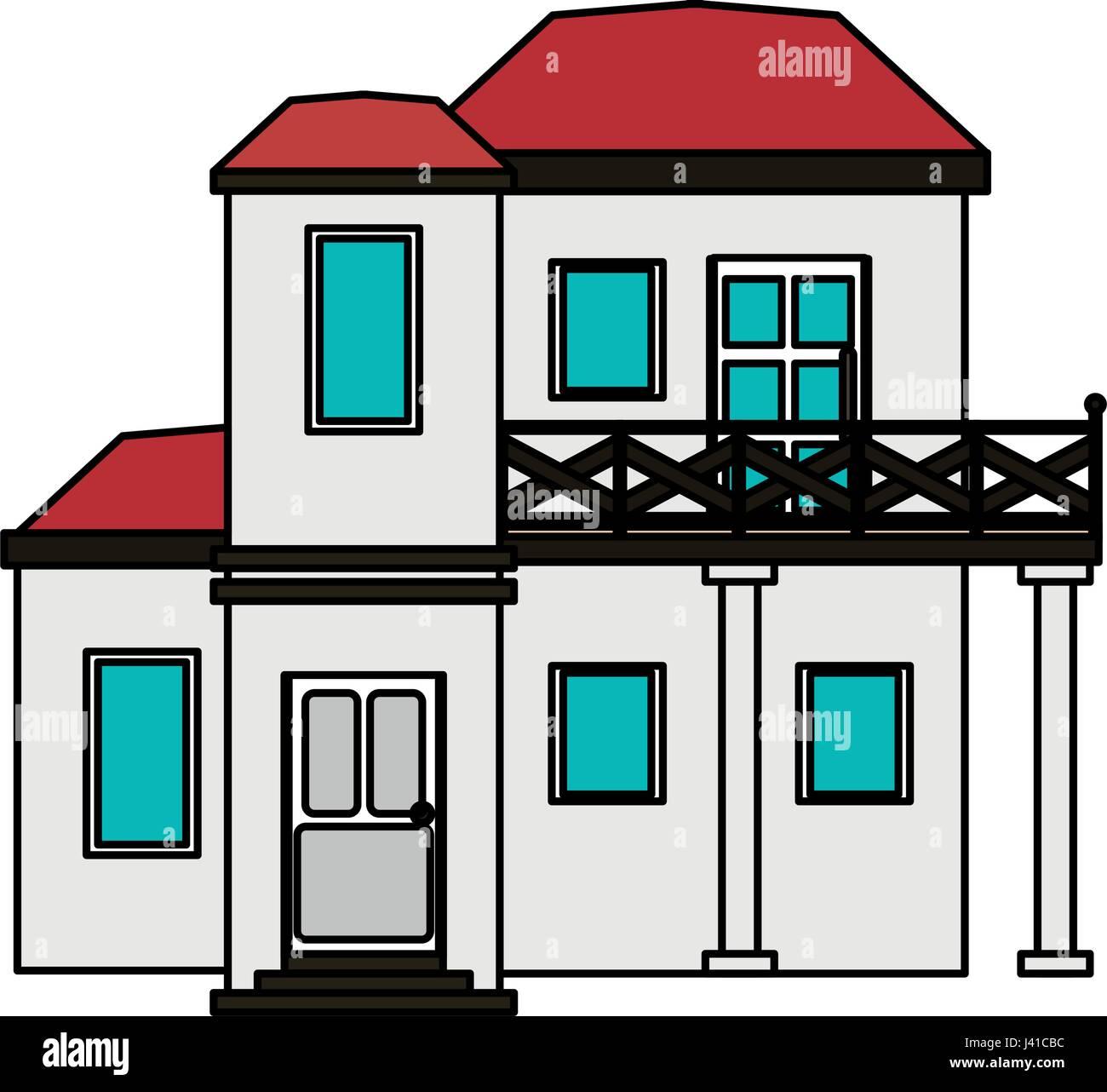 buntes Bild Cartoon Fassadenstil modernes Haus mit zwei Stock und ...