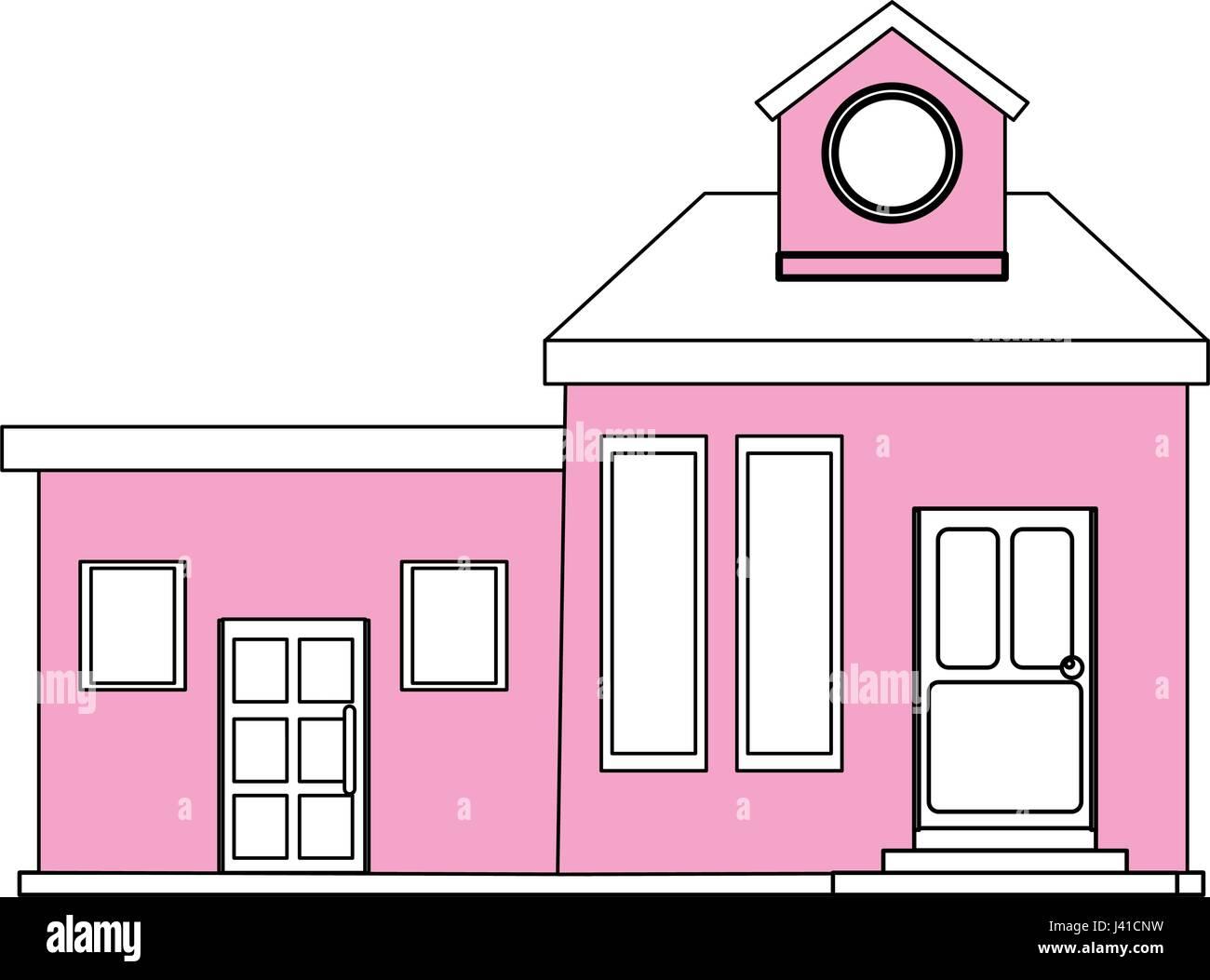 Farbe Silhouette Cartoon rosa Fassade modernes Haus mit zwei Zimmern ...