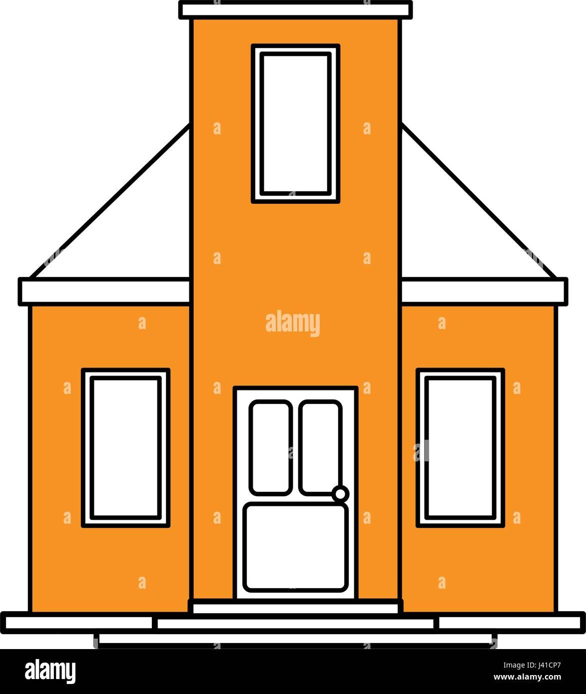 Silhouette Cartoon Gelbe Fassade Modernes Haus Farbstil Ohne Dach Stockbild