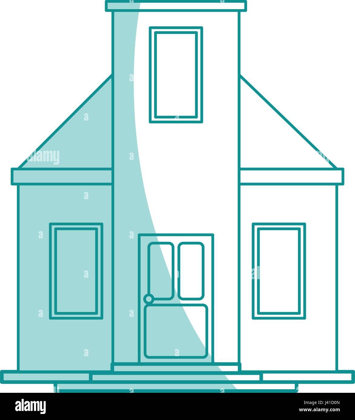 Blaue Schattierung Silhouette Cartoon Fassadenstil Modernes Haus Ohne Dach  Stockbild