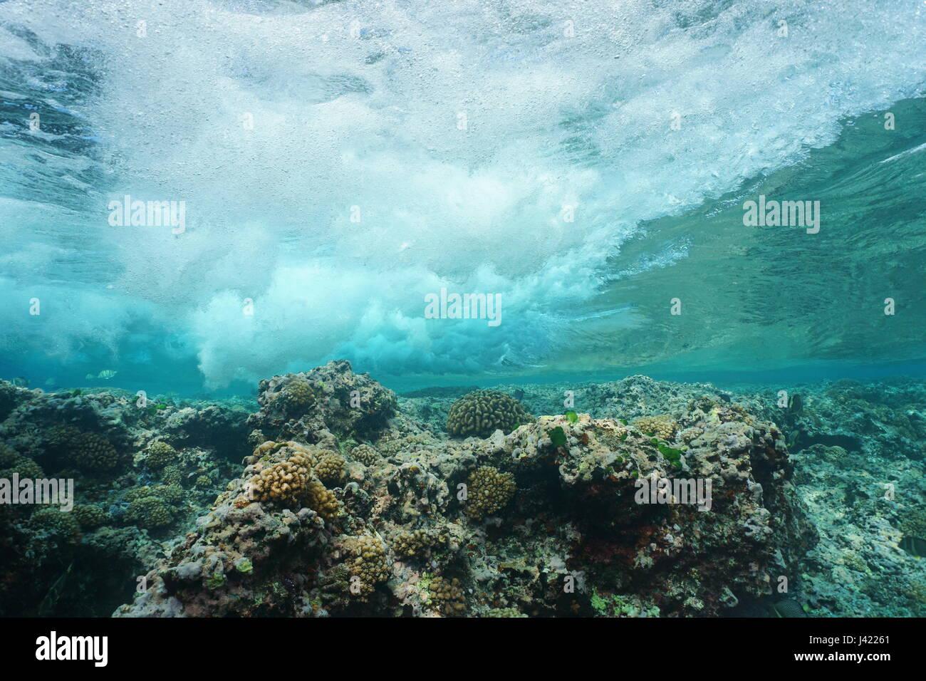 Welle bricht am Riff von Unterwasser, Pazifischen Ozean, Huahine, Gesellschaftsinseln, Französisch-Polynesien Stockbild