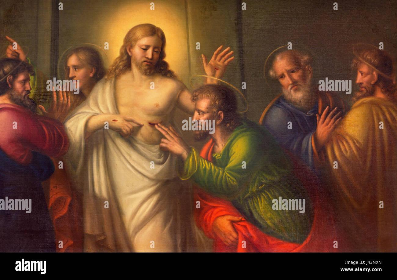 TURIN, Italien - 13. März 2017: Die Malerei der Zweifel von St. Thomas in Kirche Chiesa di Santo Tomaso unbekannten Stockbild