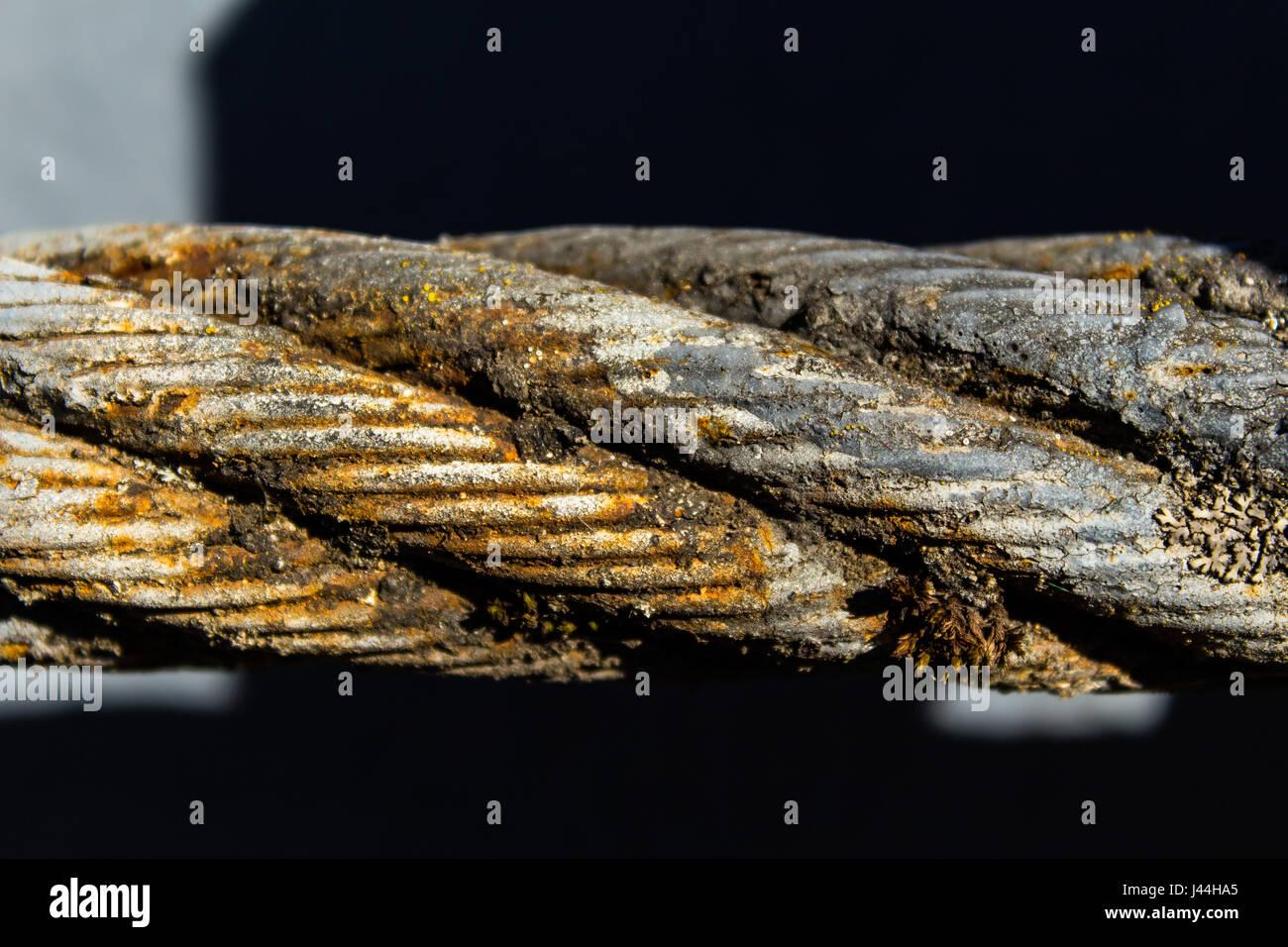 Dicken Stahlseil Hautnah Brucke Zaunelement Detailansicht Das