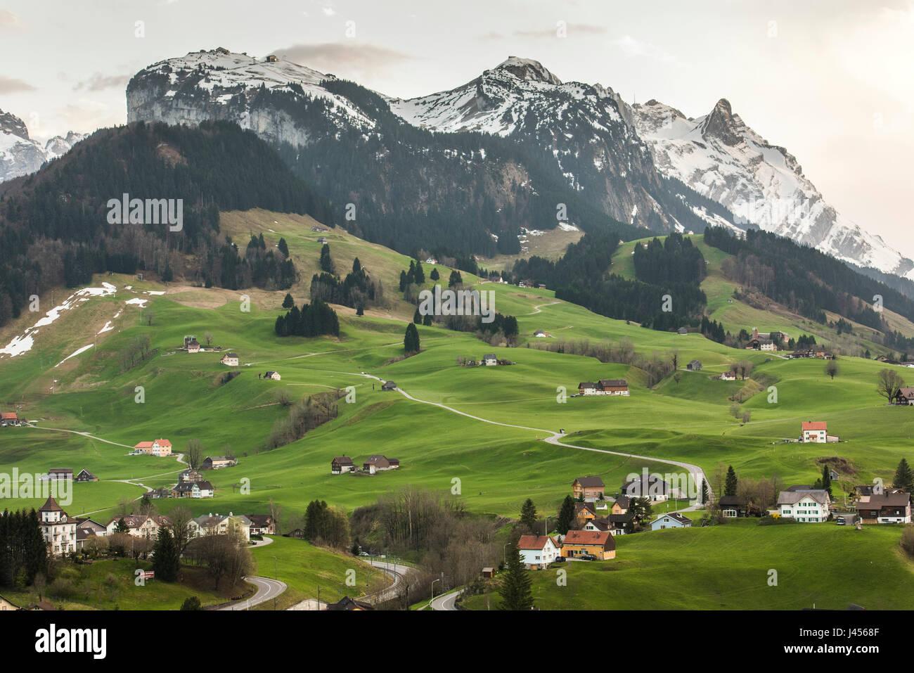 Blick auf die ländliche Landschaft des Gebiets rund um die Schweizer Stadt Appenzell, Schweiz. Derek Hudson Stockbild