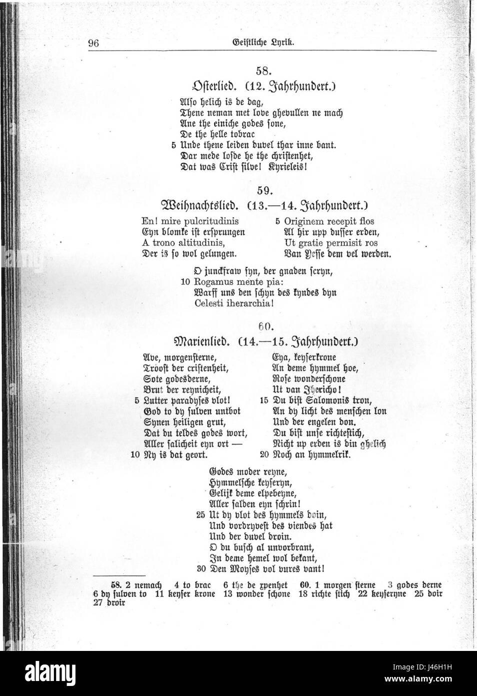 Mittelniederdeutsche Gedichte Stockfoto, Bild: 140286653 - Alamy