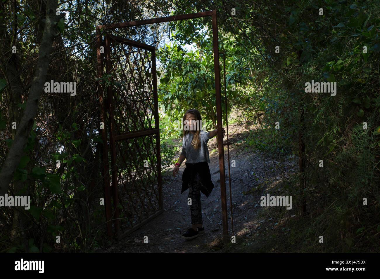 Junges Mädchen tanzt allein im Wald. Model-Release verfügbar Stockbild