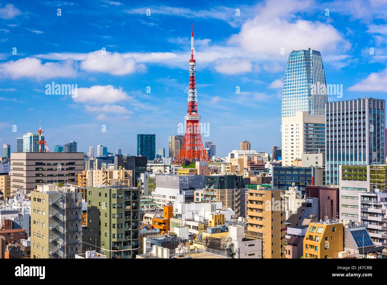 Tokyo, Japan Stadtbild und Turm. Stockbild