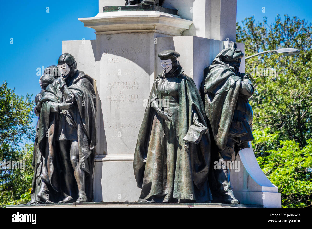 Australien, New South Wales, Sydney, Shakespeare Ort, Shakespear Zeichen der Gedenkstätte Shakespear Guy Fawkes Stockbild