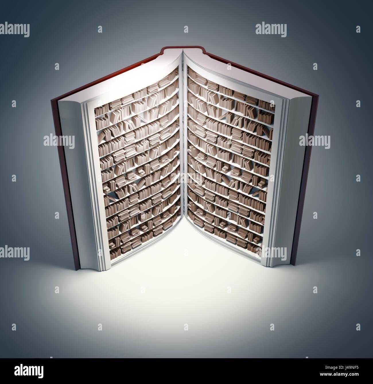Buch förmigen Bücherregal - 3D-Illustration Stockfoto