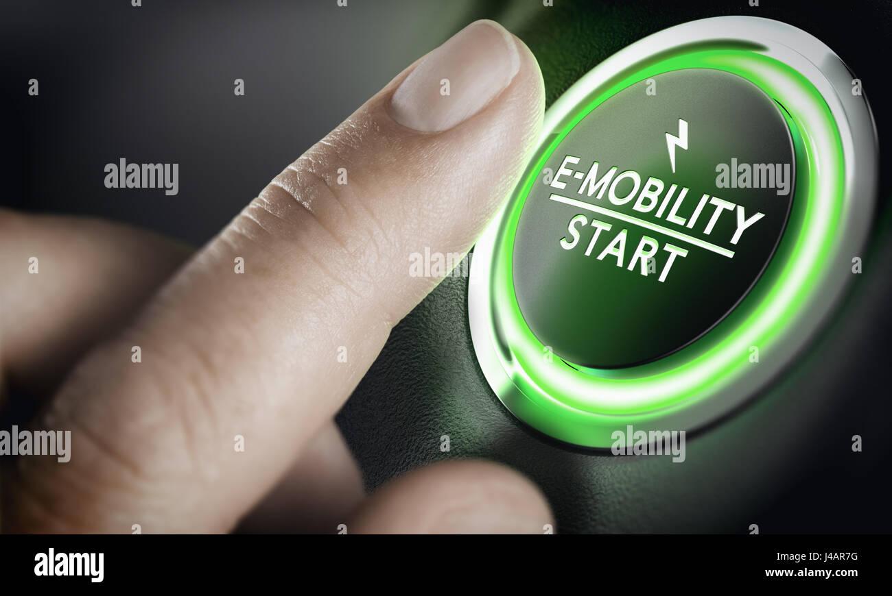 Mann drängen grüne Auto-Taste. Konzept der e-Mobilität. Zusammengesetztes Bild zwischen einem Hand Stockbild