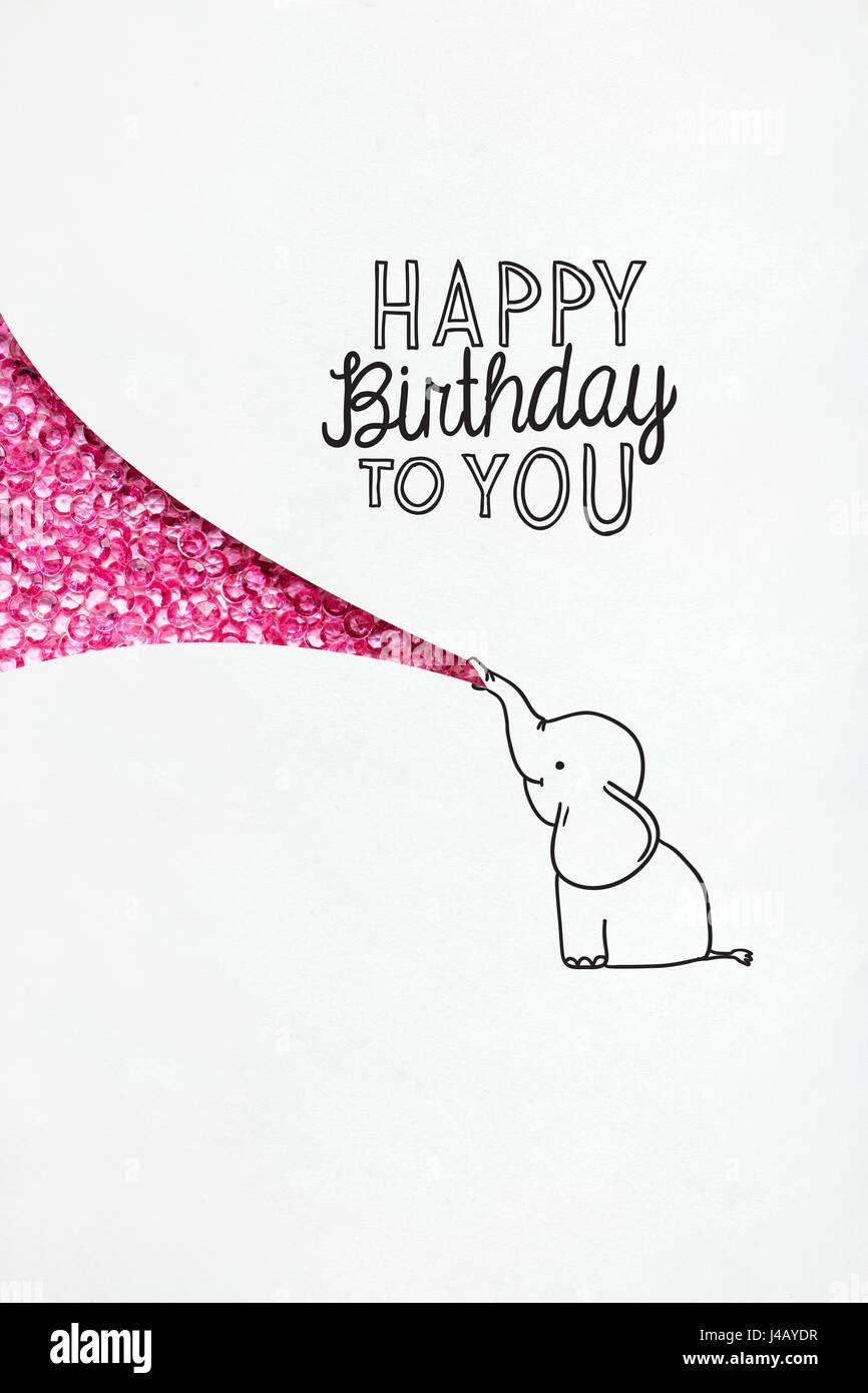 Kreative Geburtstag Konzept Foto illustrierte Elefanten auf weißem ...