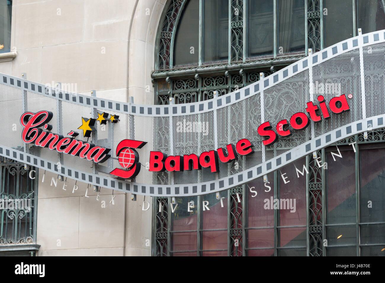 Montreal, CA - 11. Mai 2017: Fassade der Banque Scotia (Scotia Bank) Kino Stockbild