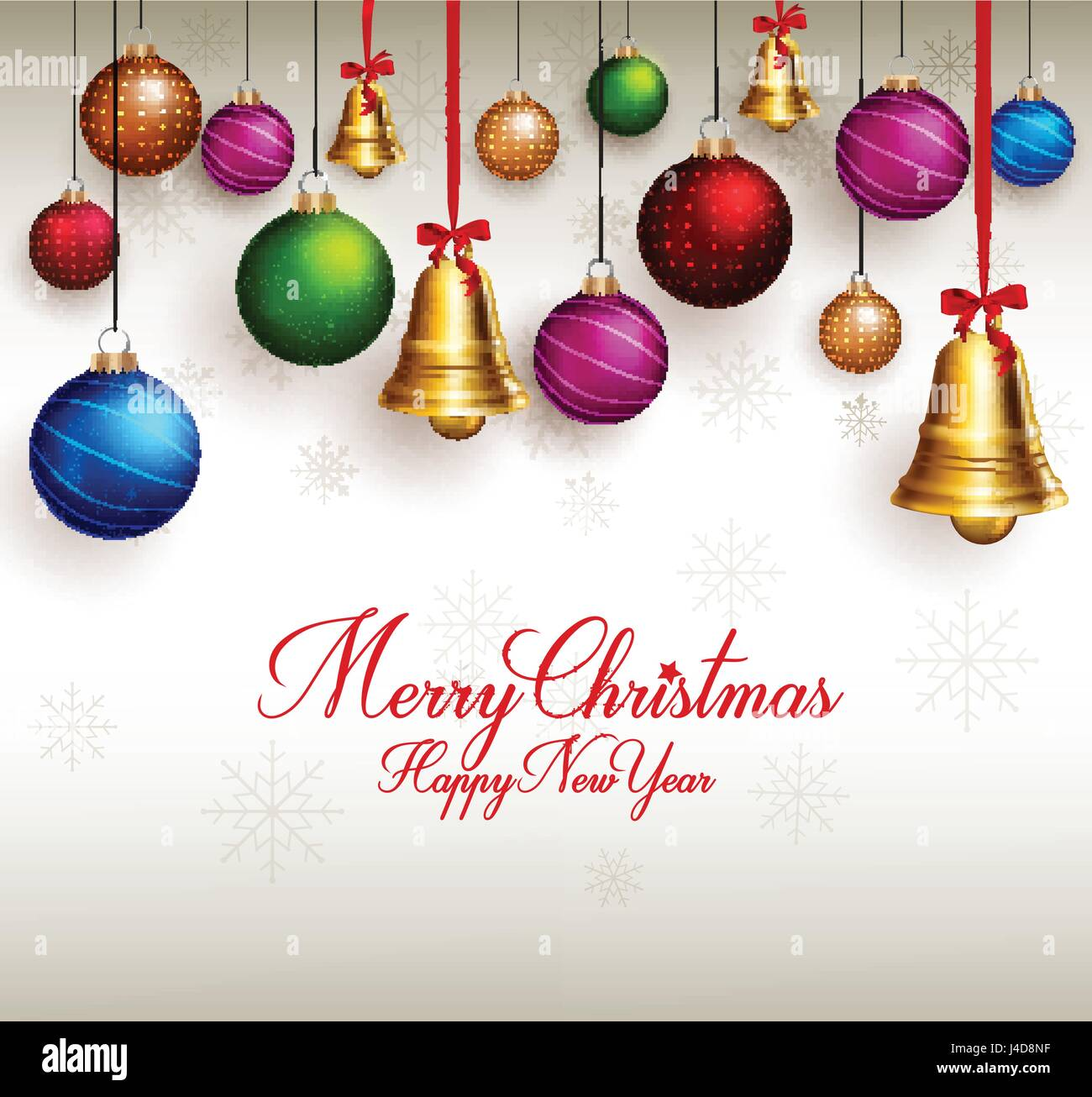 Frohe Weihnachten Grüße.Frohe Weihnachten Grüße Vektor Mit Hängenden Bunten Glocken Und