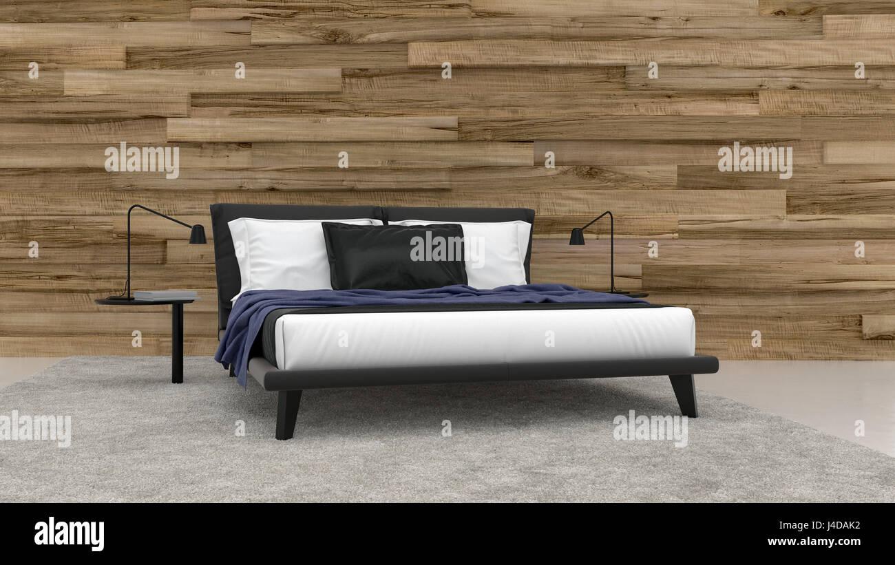 Minimalistisches Design Schlafzimmer Innenraum Mit Schwarz Bett Mit Zwei  Dünnen Lampen Gegen Konzeptionelle Holzwand. 3D Rendering.