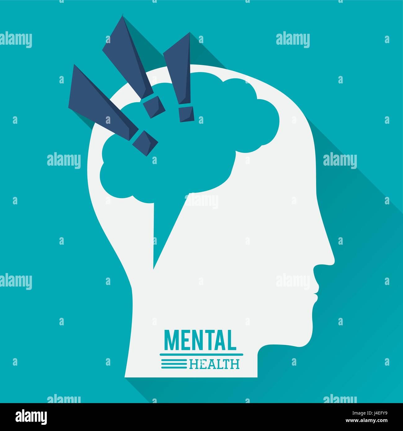 psychische Gesundheit, menschlicher Kopf mit Gehirn in Form von Ausrufezeichen Stockbild