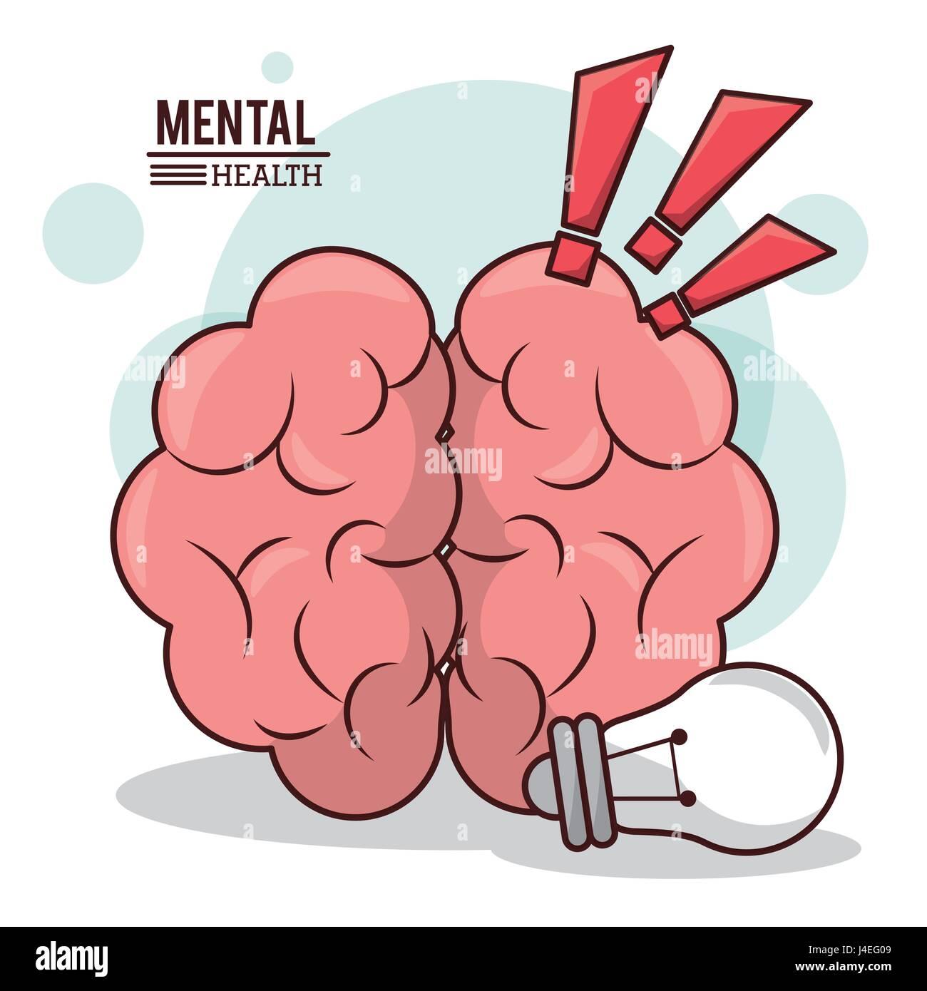 psychische Gesundheit, menschliche Gehirn Idee Ausrufezeichen design Stockbild