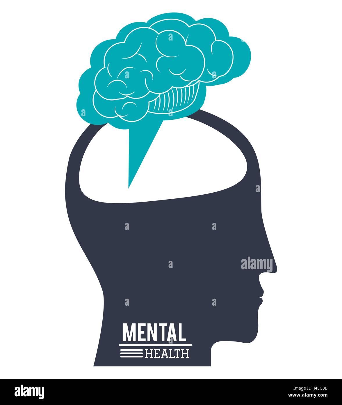 menschliche Kopf Gehirn, psychische Gesundheit Fortschritte Innovation design Stockbild