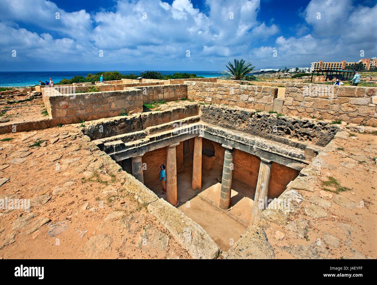 Grab 3, Gräber der Könige (UNESCO-Weltkulturerbe), Paphos, Zypern. Paphos Stadt ist eine der 2 Kulturhauptstadt Stockbild