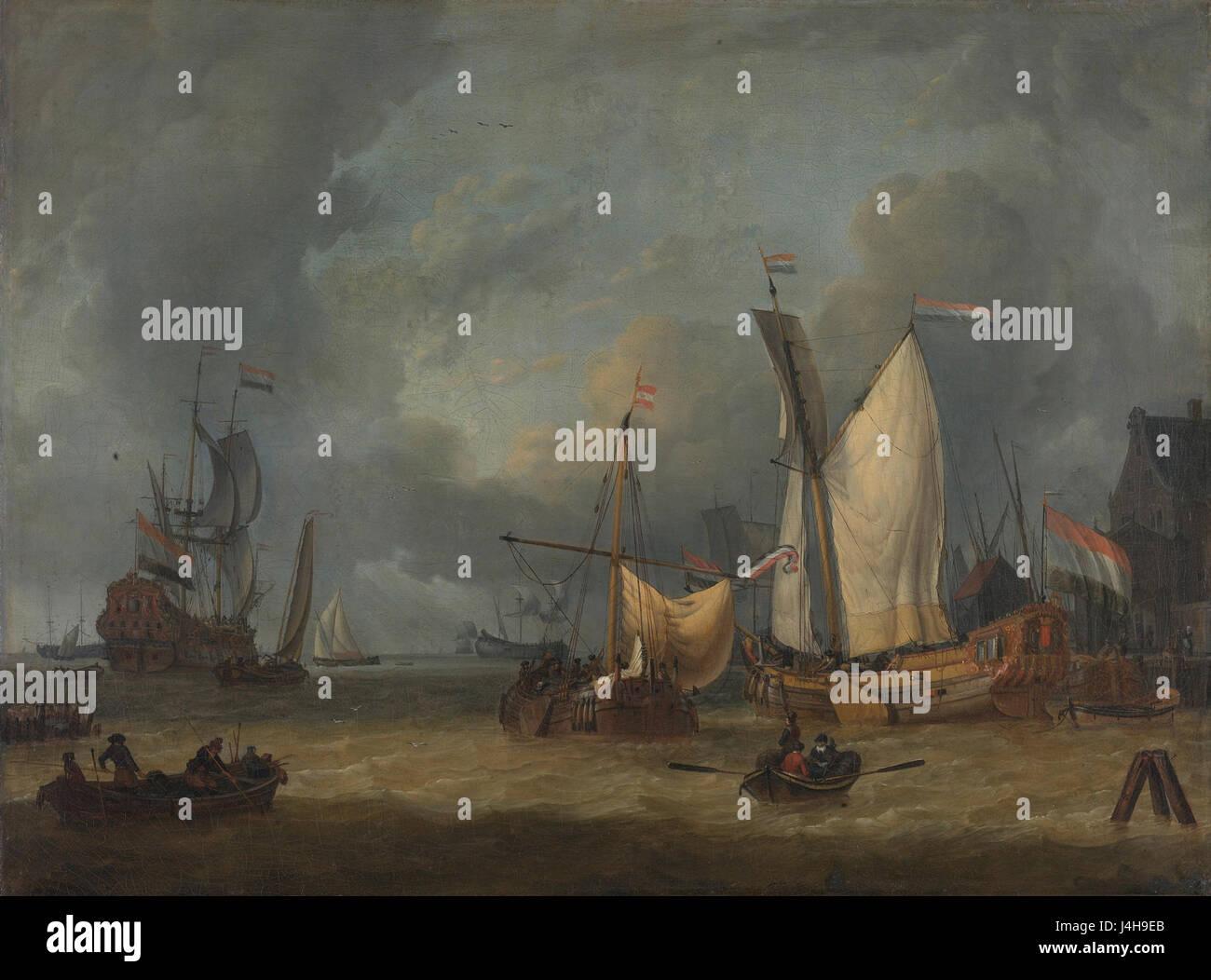 Löwener in de Haven Bij Een Stevige Bries Rijksmuseum SK A 334 Stockbild