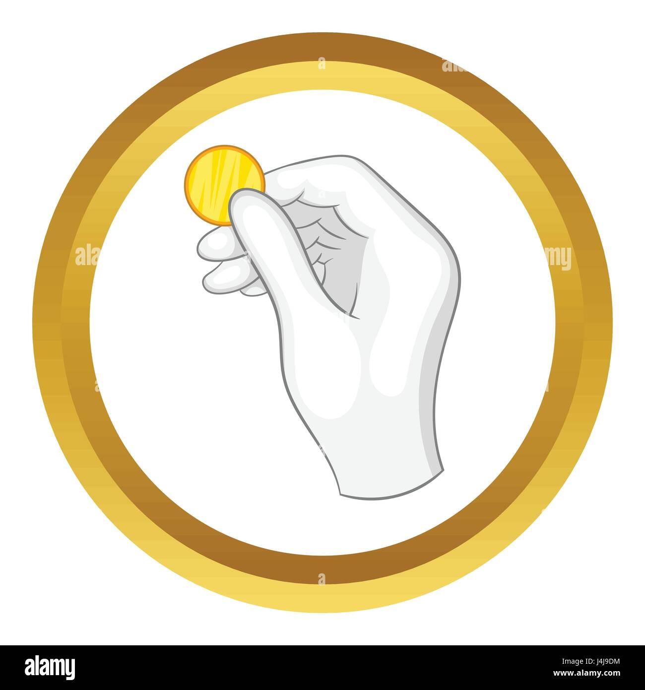 Geben Sie Einen Weißen Handschuh Hält Eine Münze Vektor Icon Vektor