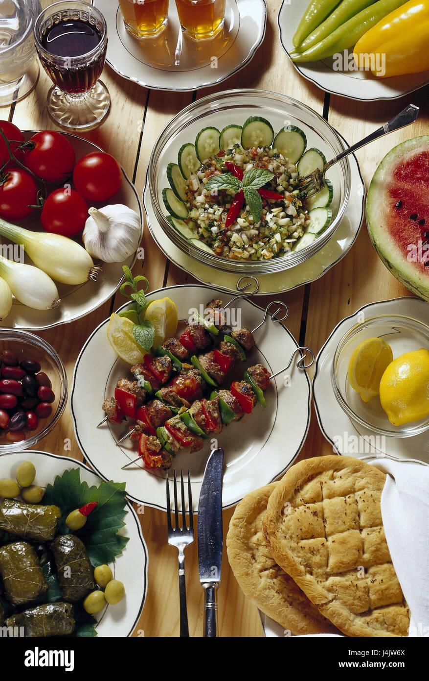 Speisen, Getränke, in Türkisch, Spezialitäten Stillleben ...