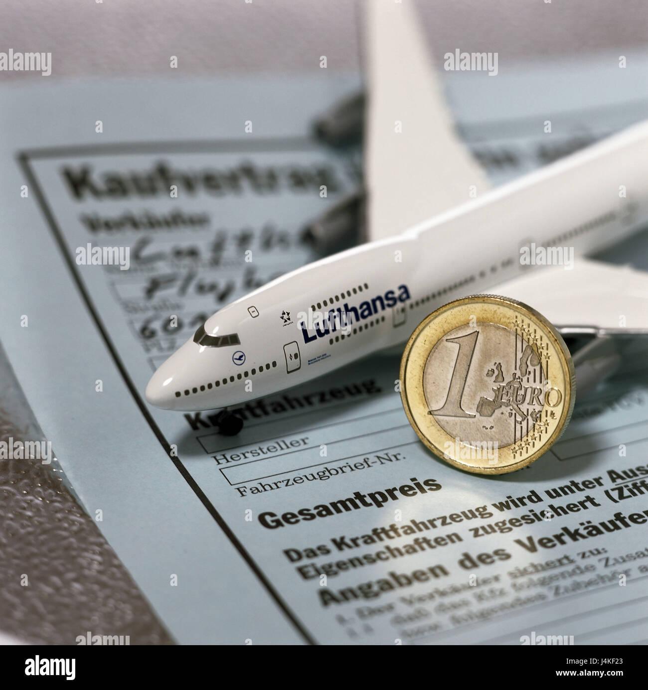 Kaufvertrag, Icon, Airline, Lufthansa, Flugzeug, für einen guten ...