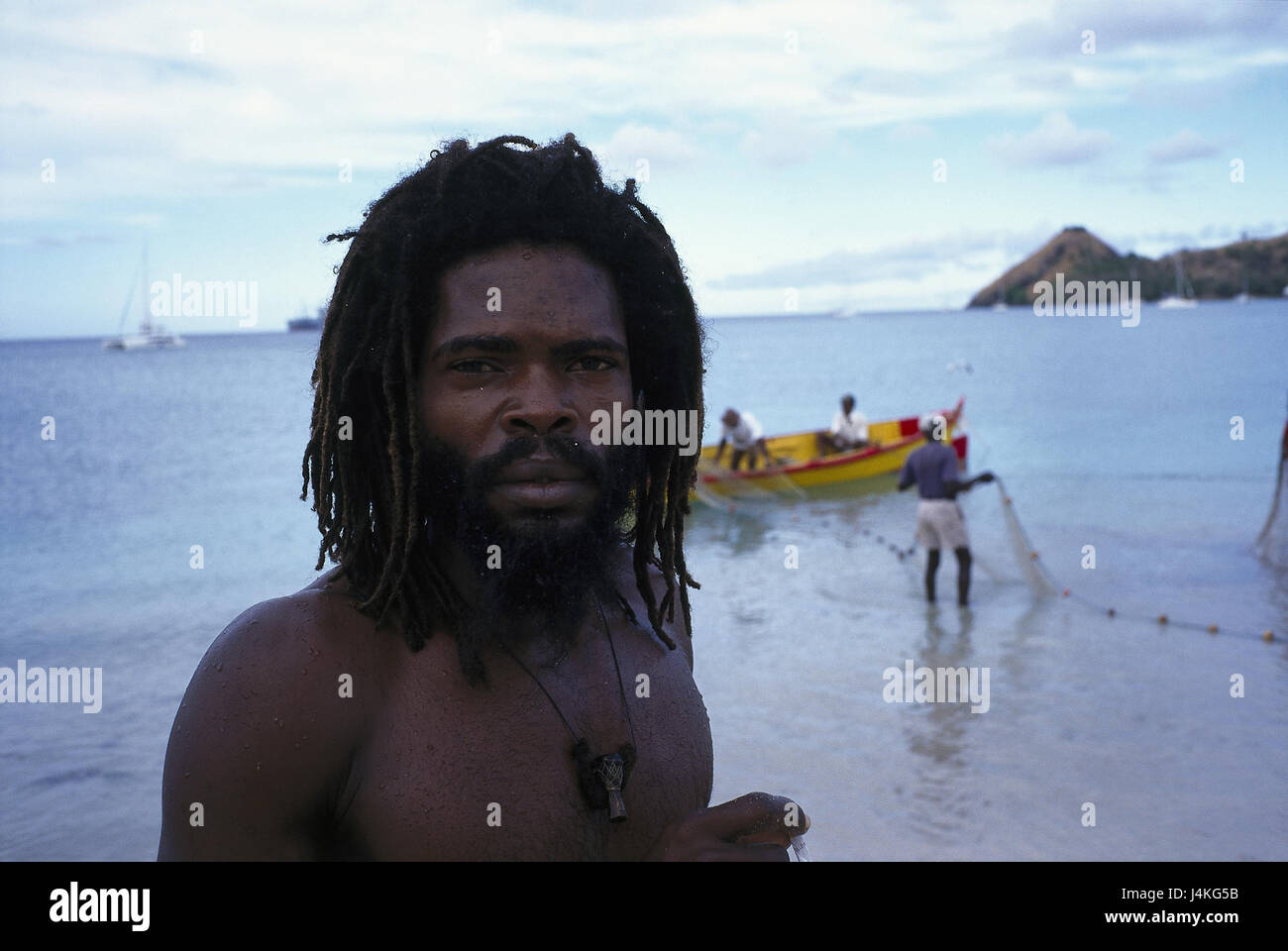 Saint Lucia Brutto Islet Bay Mann Dreadlocks Portrat Meer West