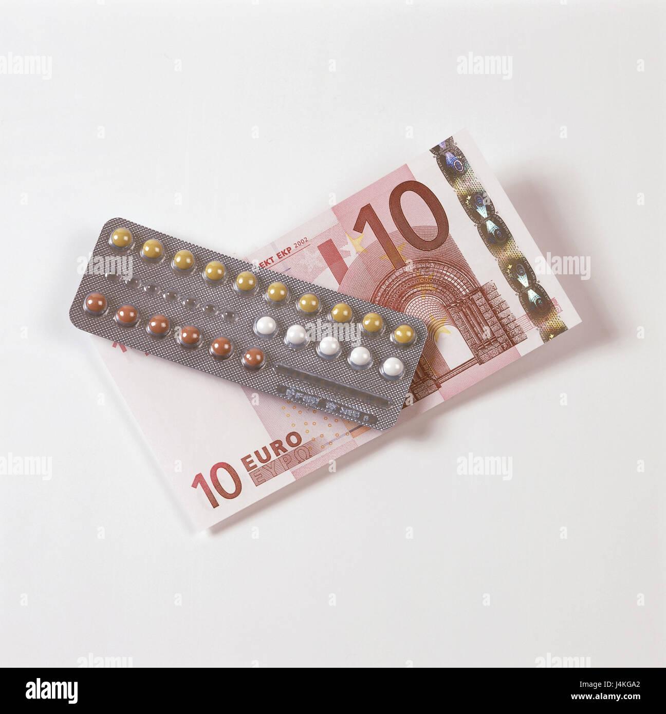 Geburtenkontrolle Pille 10 Euro Geldschein Symbol