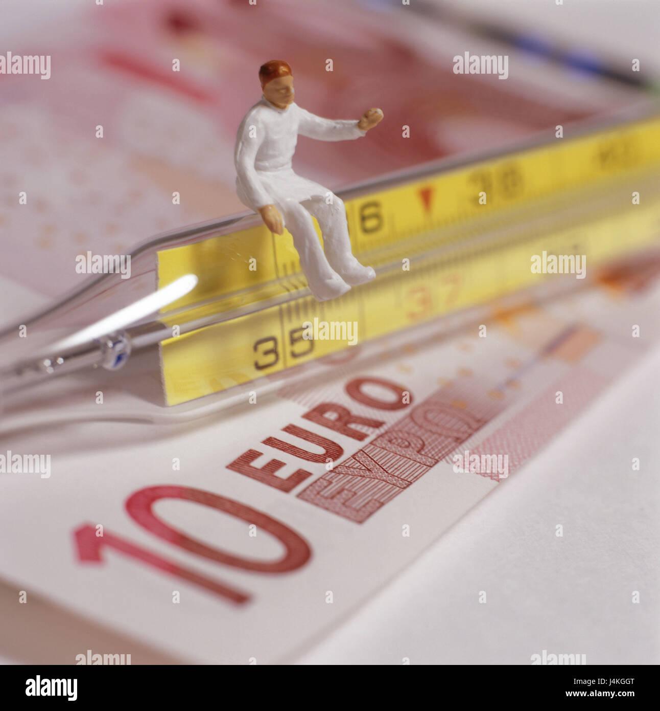 10 Euro Banknote Fieberthermometer Charakter Arzt Symbol