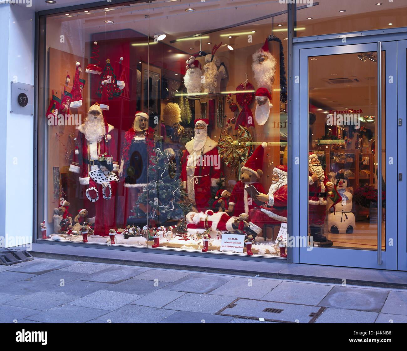 Business, Schaufenster, Weihnachtsmänner, Geschenk, laden ...