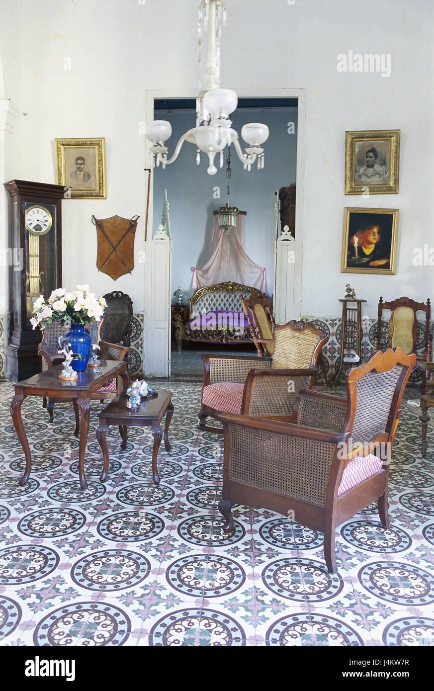 Trinidad, Kuba, Wohnfläche, Haus im Kolonialstil der Karibik ...