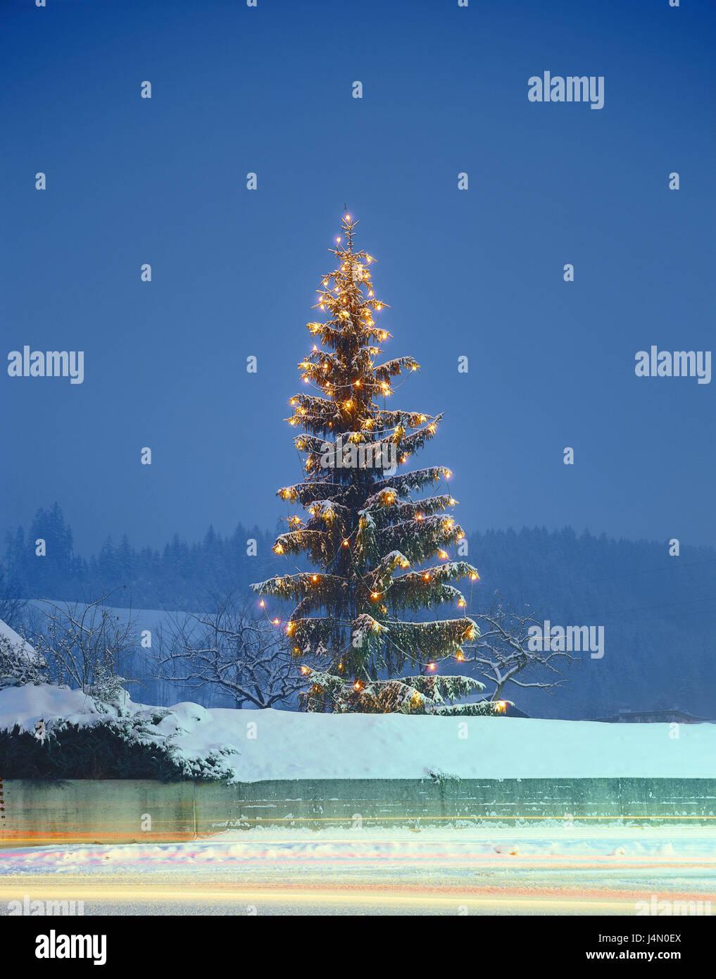 Österreich, Tirol, Unterinntal, Kramsach, Weihnachtsbaum, Lichter ...