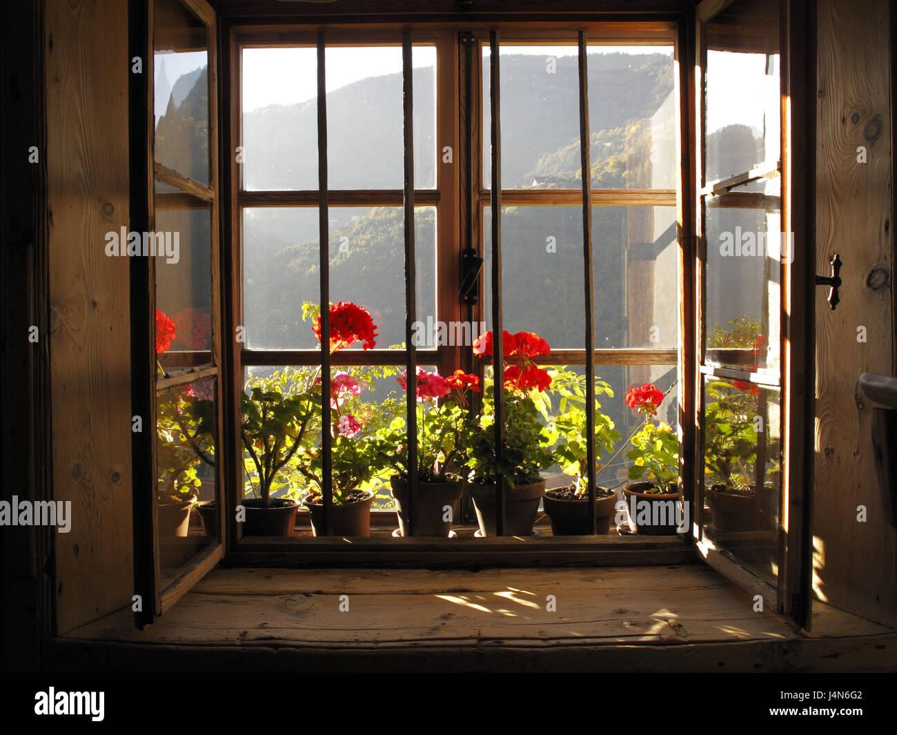 Bauernhaus-Fenster mit Blumenschmuck von innen, Architektur ...