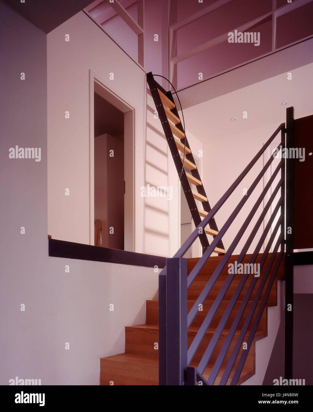 innen gedreht, treppen, flach, wohn-haus, wohnen, innen, detail