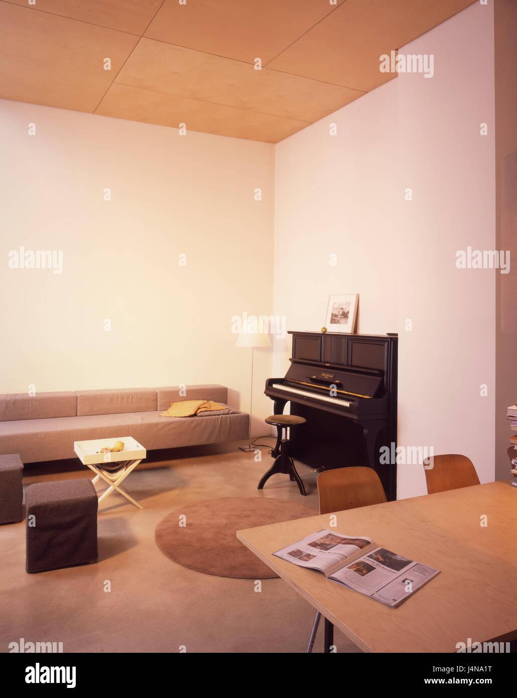 Innen gedreht, Wohnzimmer, Klavier, Wohnung, wohnen, innen, Zimmer ...