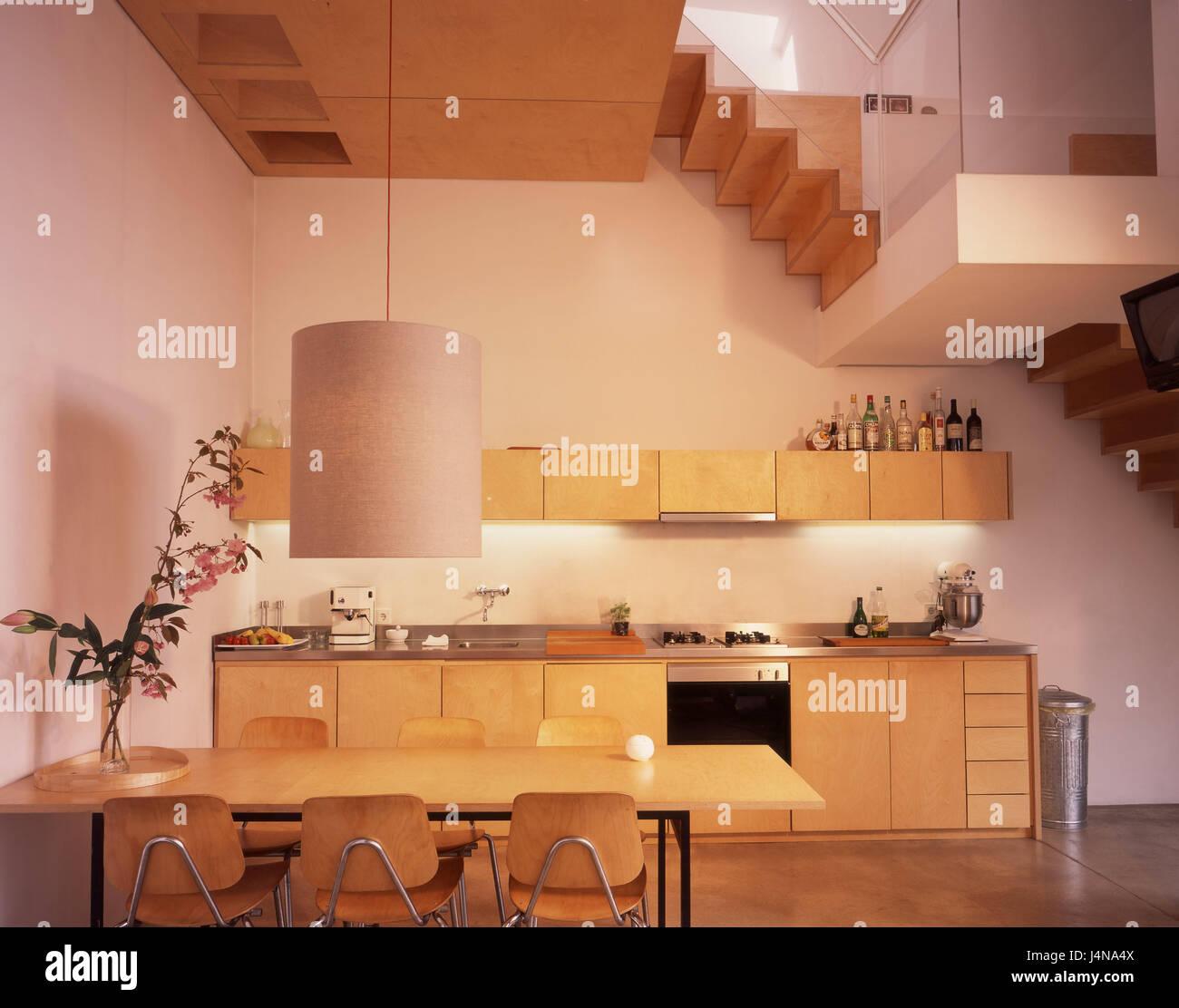 Treppen Essen innen gedreht küche offen lebenden viertel esstisch treppen