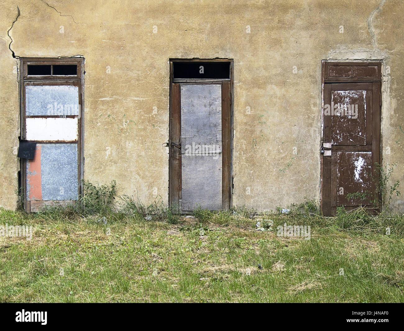 Haus, Detail, Türen, drei, Altbau, Fassade, Mauer, Eingänge ...