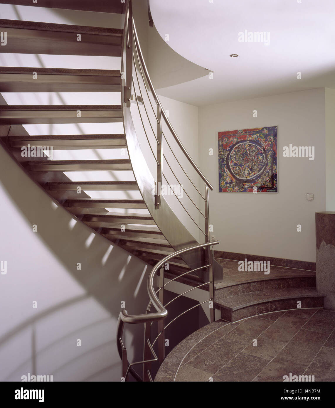 Einfamilienhaus Treppenhaus Wohnhaus Haus Treppen Steigen Stahl