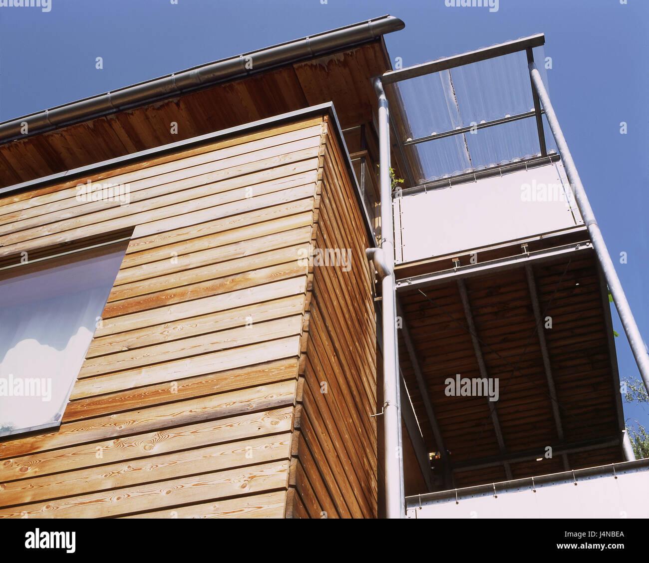 Holzhaus, außen, Balkon, Wohnhaus, Häuser, Leben, Holz, Haus ...