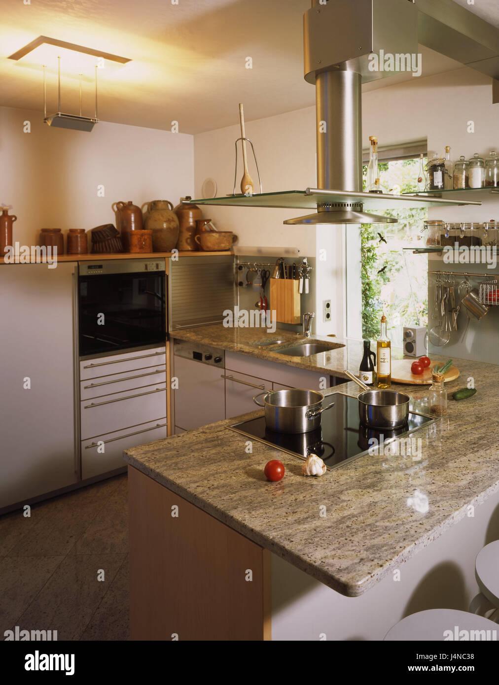 Küche, Einrichtung, moderne, Wohnküche Zimmer, Küche, Insel ...