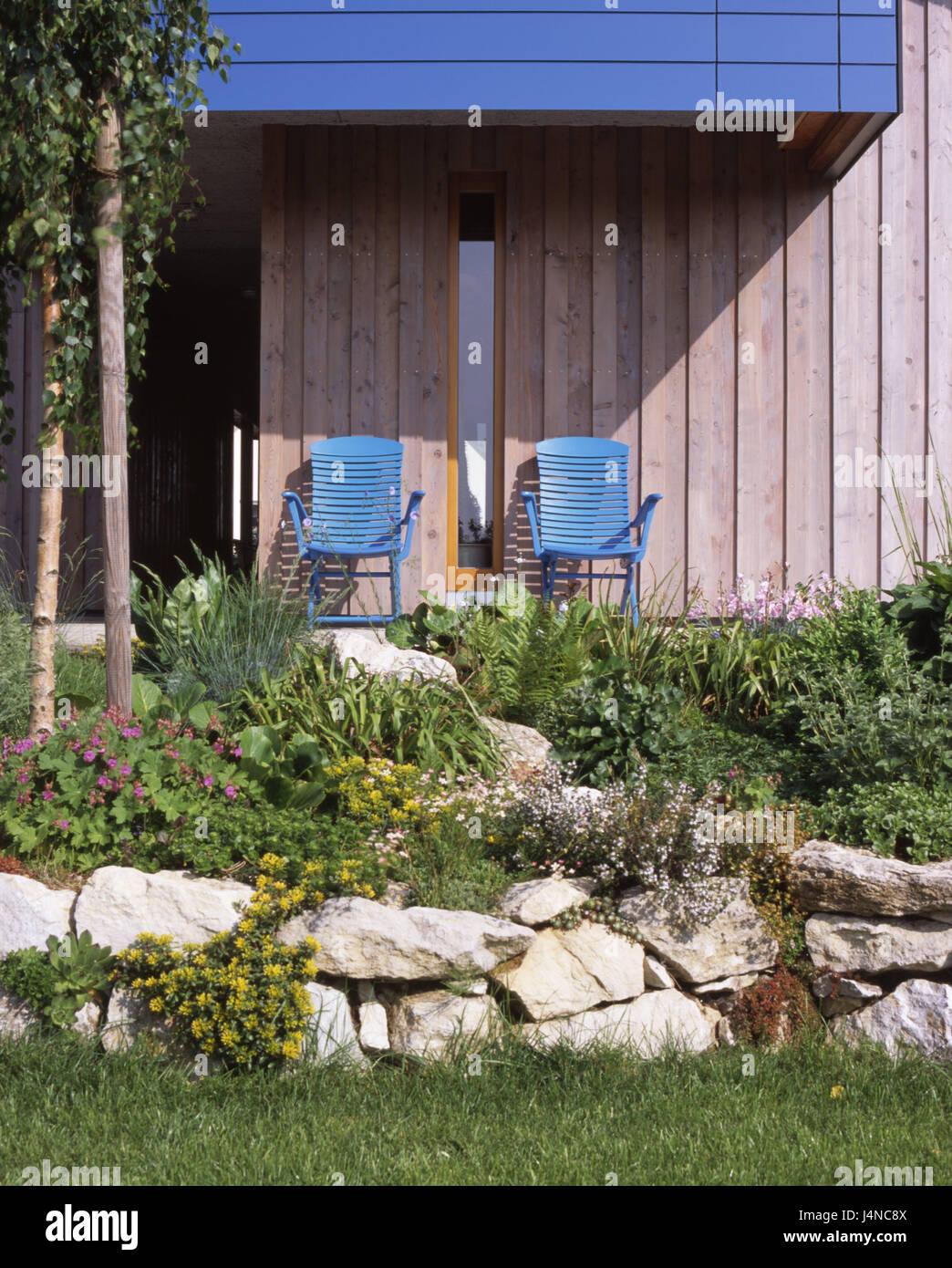 Garten Stuhle Garten Terrasse Blau Steinen Ornamental Idylle